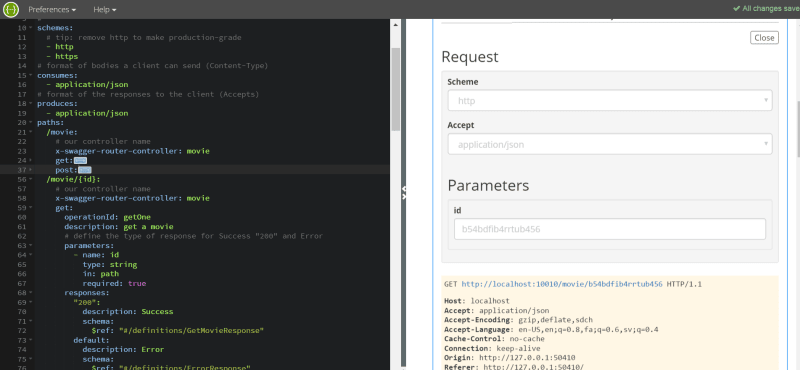 RESTful API development in Node.js with Swagger