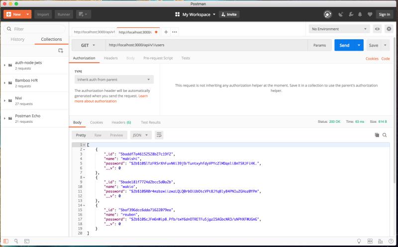 Authenticate a Node ES6 API with JSON Web Tokens