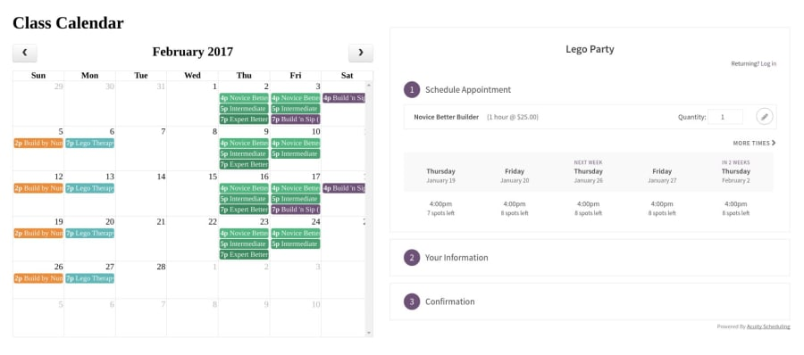 Build an Online Class Calendar with Acuity Scheduling's API ― Scotch io