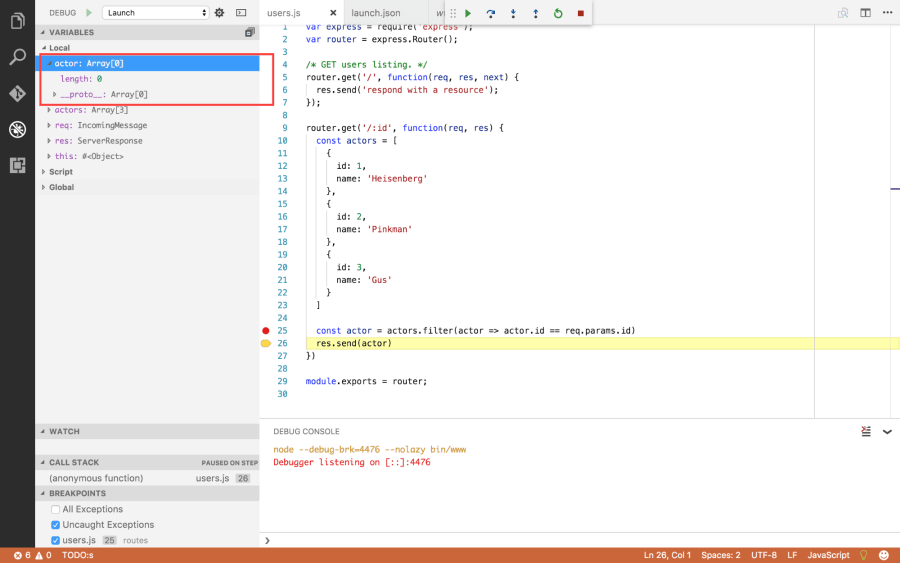 Debug a Node App Inside of Visual Studio Code ― Scotch io