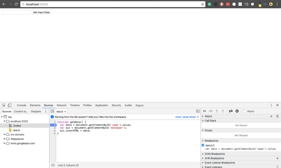Debugging JavaScript with Chrome DevTools Breakpoints ― Scotch io