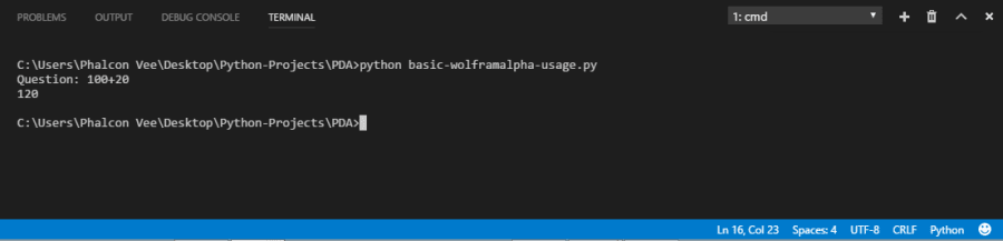 Build a virtual assistant in Python 3 x using wolframalpha