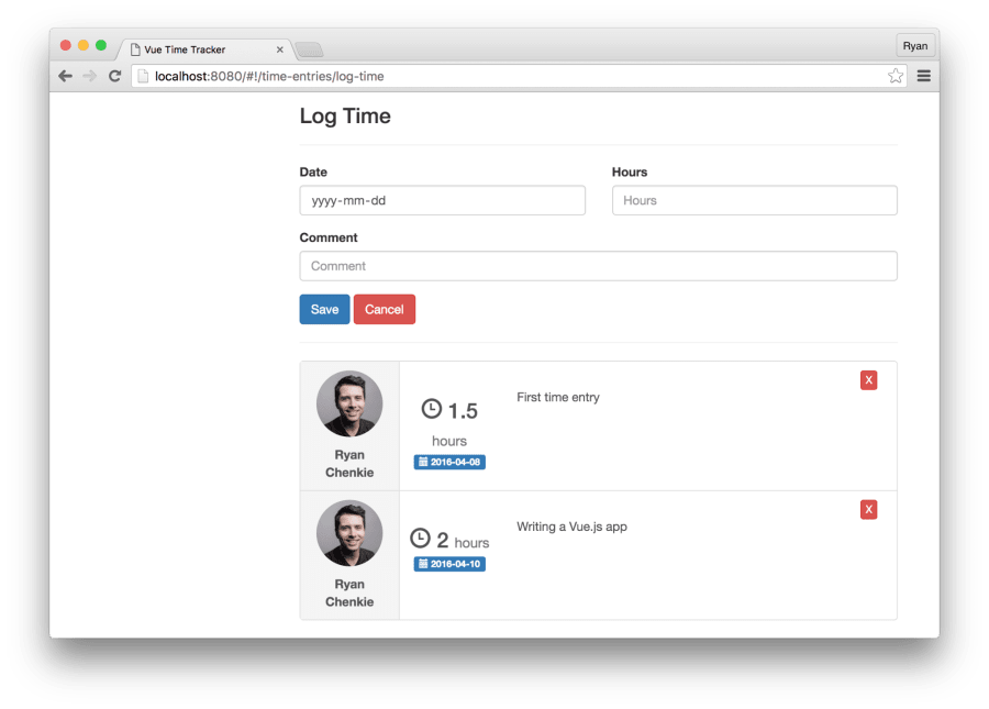 Build a Single Page Time Tracking App with Vue js, Part II