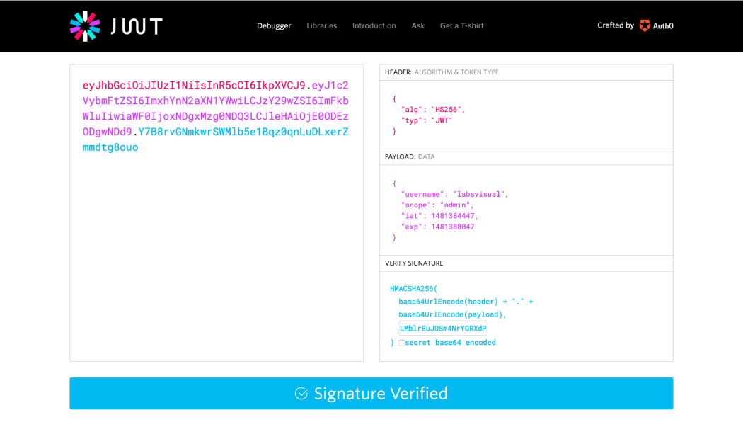 A Great Tool To Interactively Debug And Learn About JWT Is Its Official Website At The Token Debugger Here Below Screenshot Of Interactive