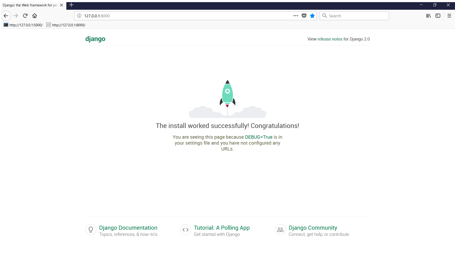 Browser window depicting Django development server Congratulations page