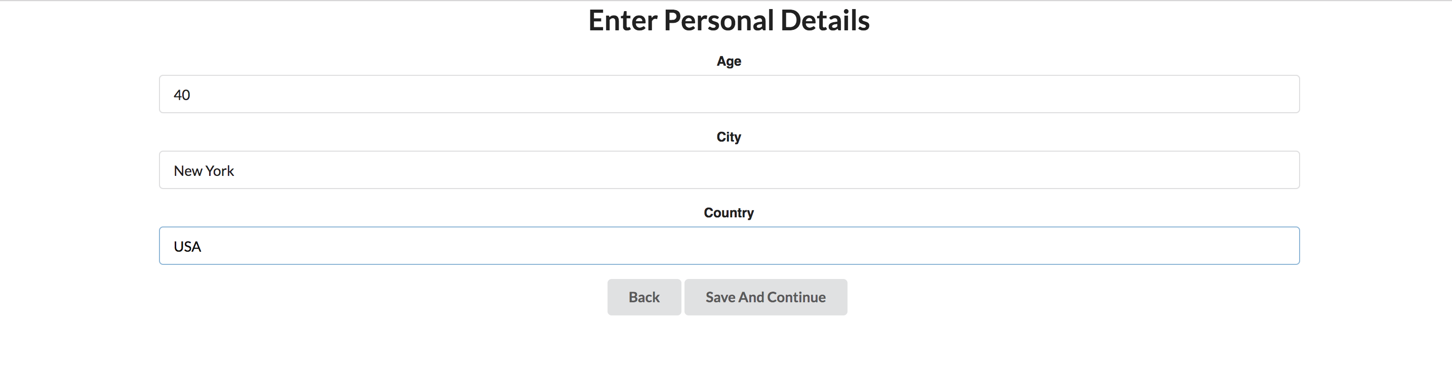 Personal Details Section