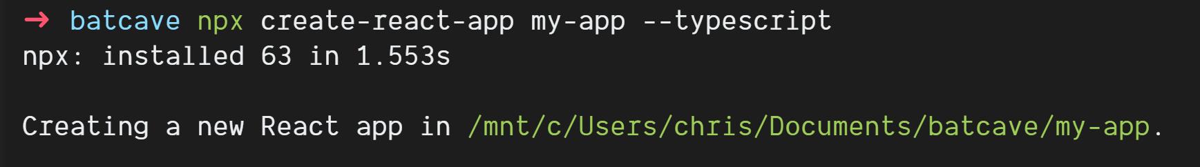Output of `npx create-react-app my-typescript-app --typescript`