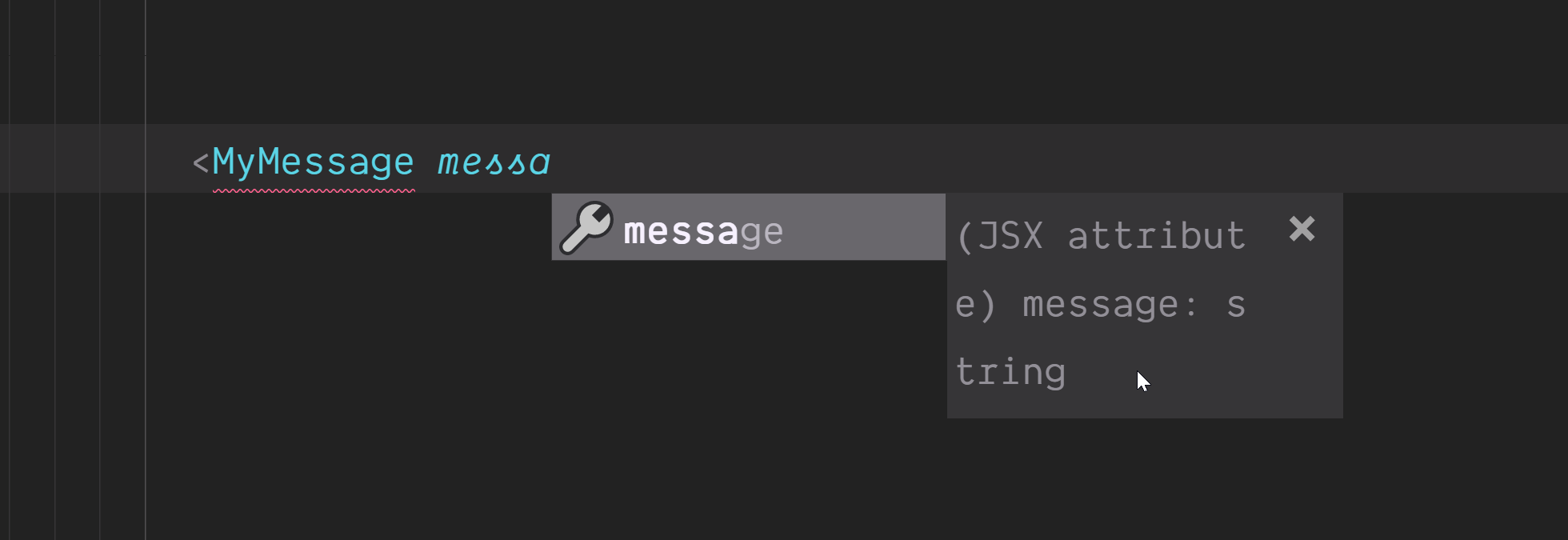 Screenshot of the expected message type.