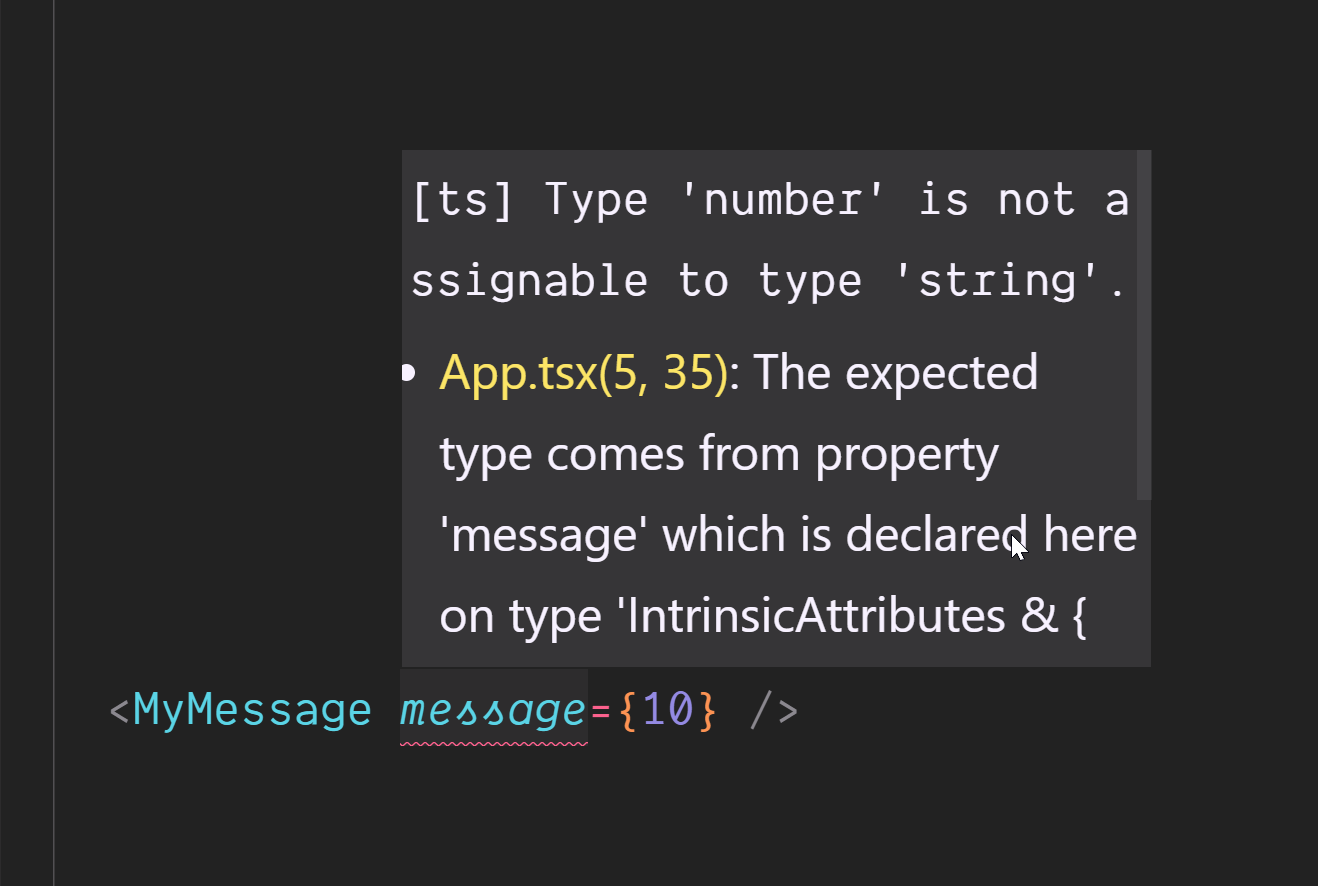 Screenshot of TypeScript error that type number is not assignable to type string.