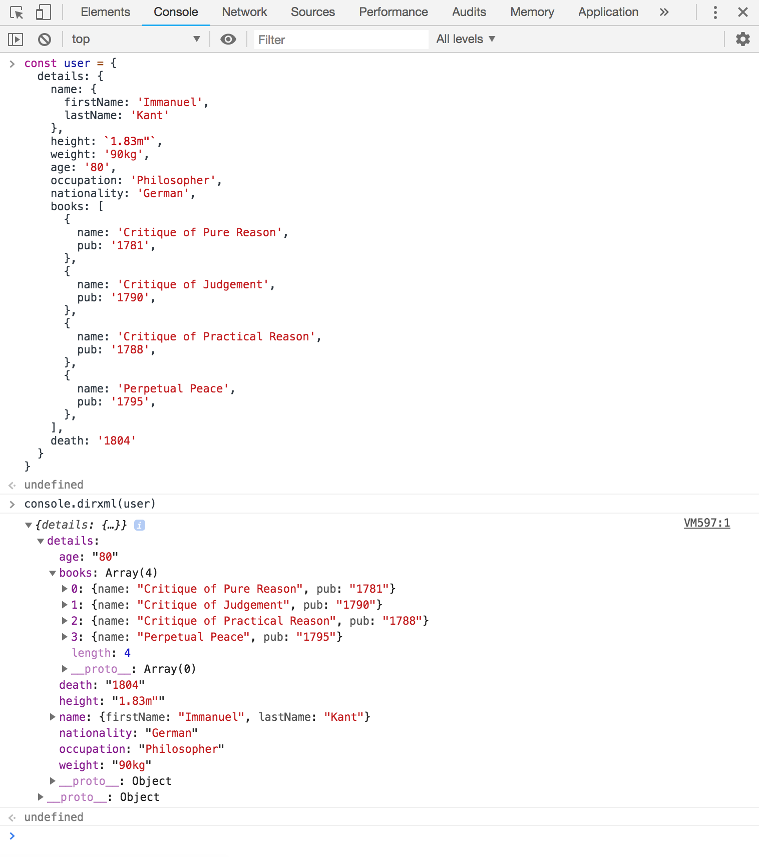 Screenshot of the user object displayed in a hierarchical dirxml format.