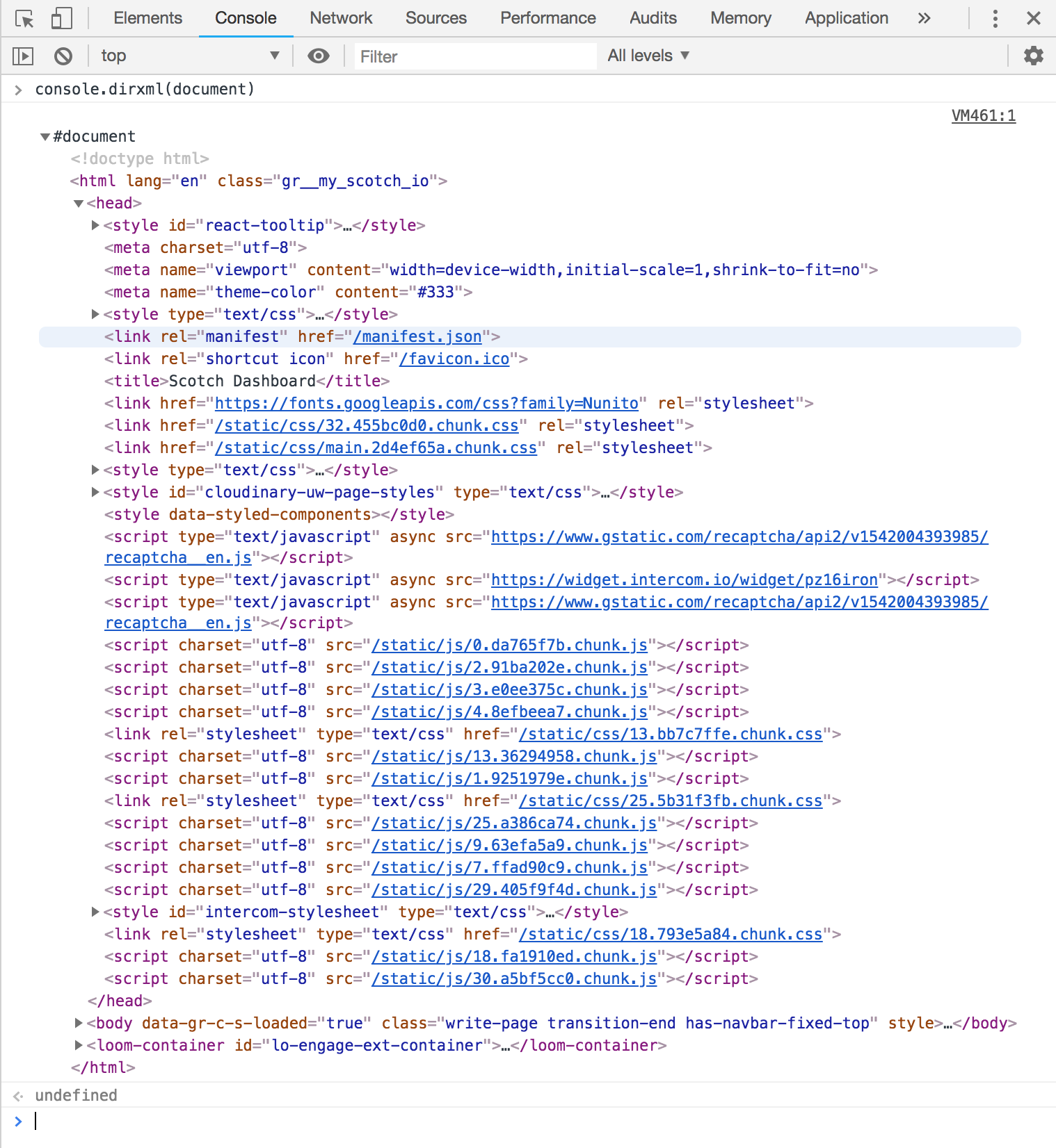 Screenshot of a nested series of HTML elements from the current website.