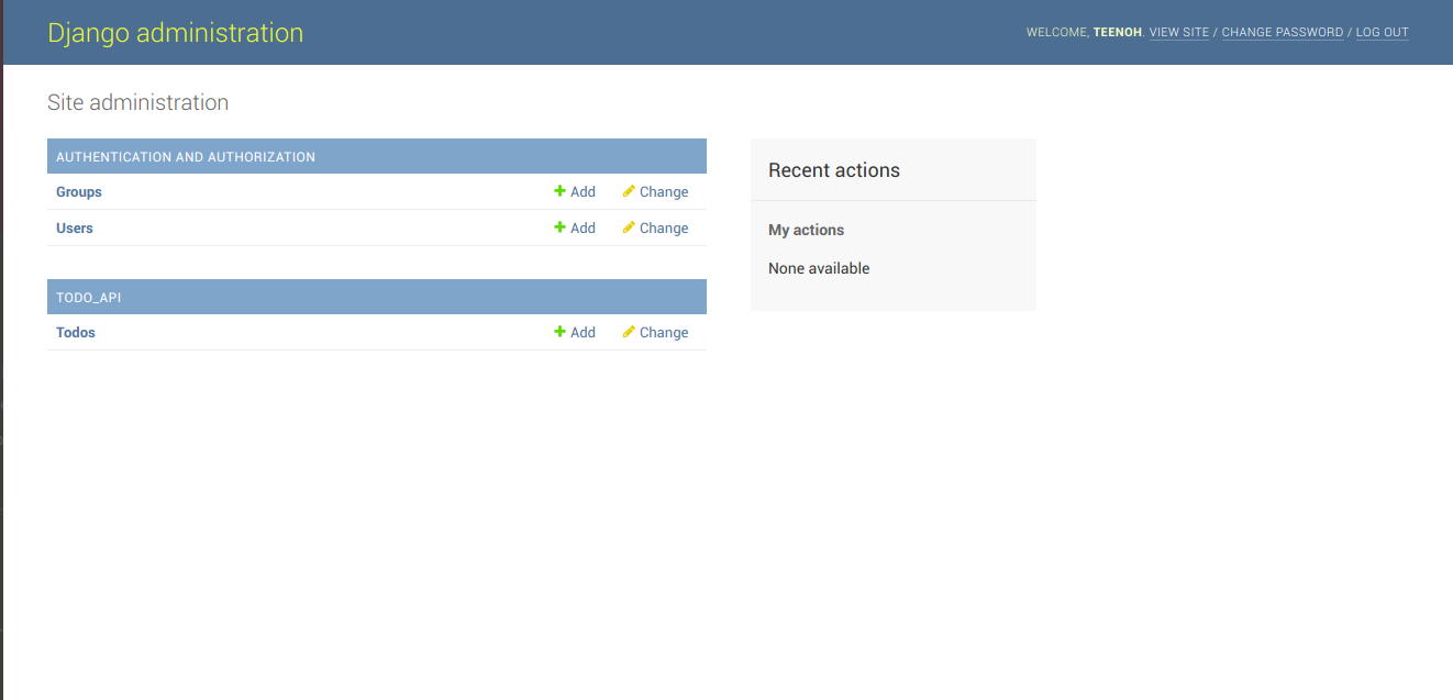 Screenshot of the admin interface for the Django application.