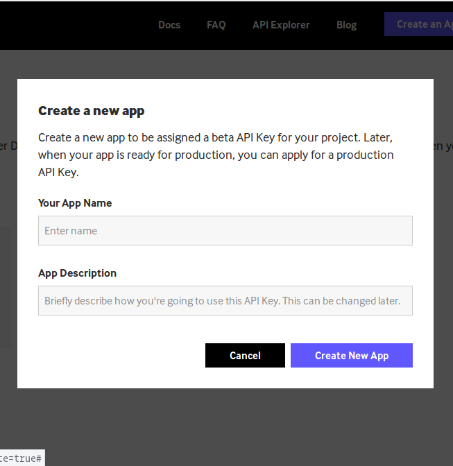 Screenshot of Giphy developer account dashboard