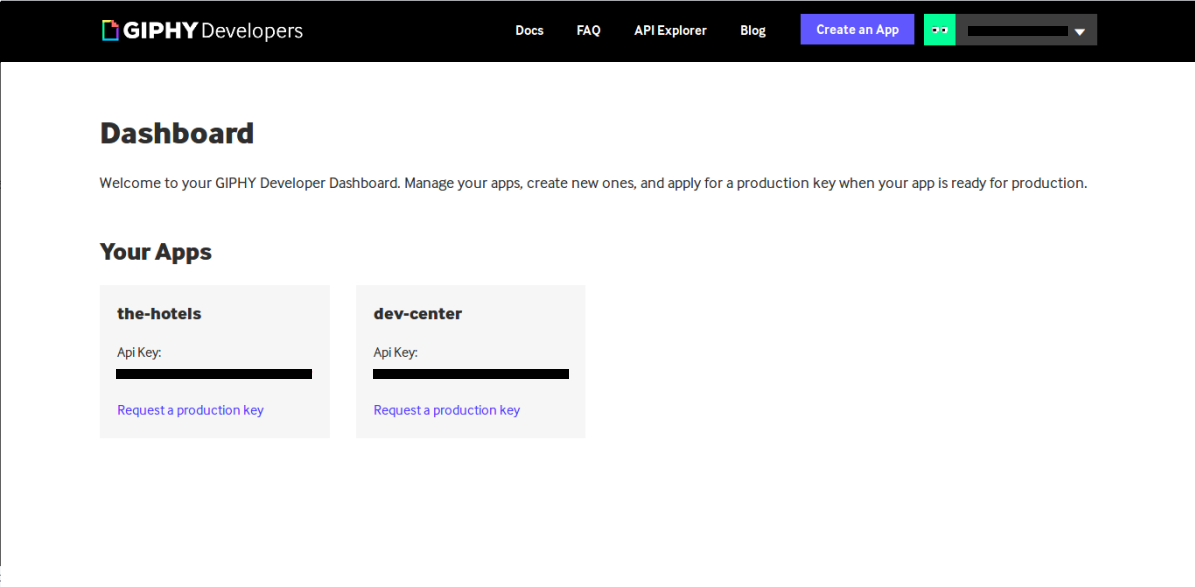 Screenshot of registered applications in Giphy develoepr dashboard