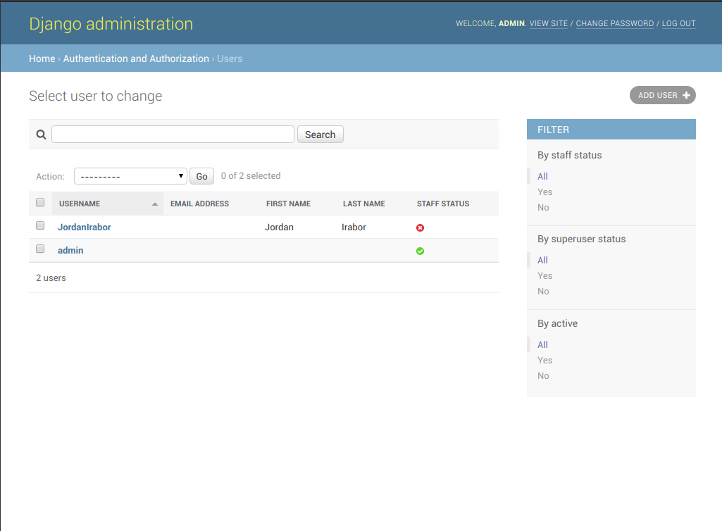 Sceenshot of Django administration users page