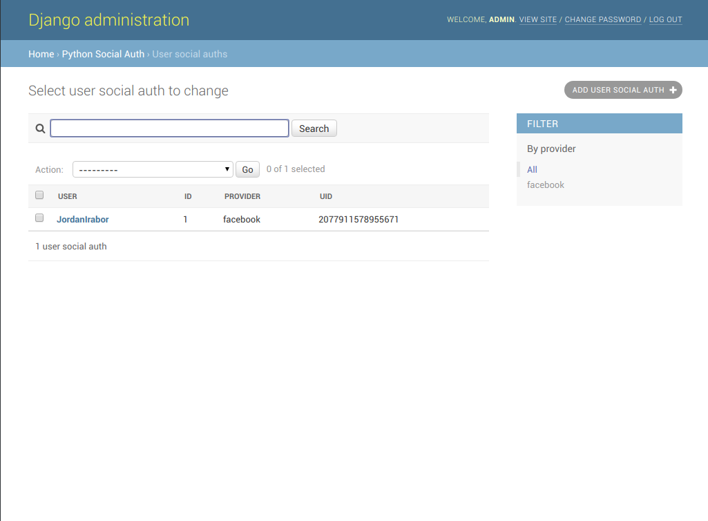 Sceenshot of Django administration user social auth page