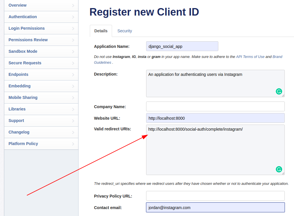 Instagram register new client id page