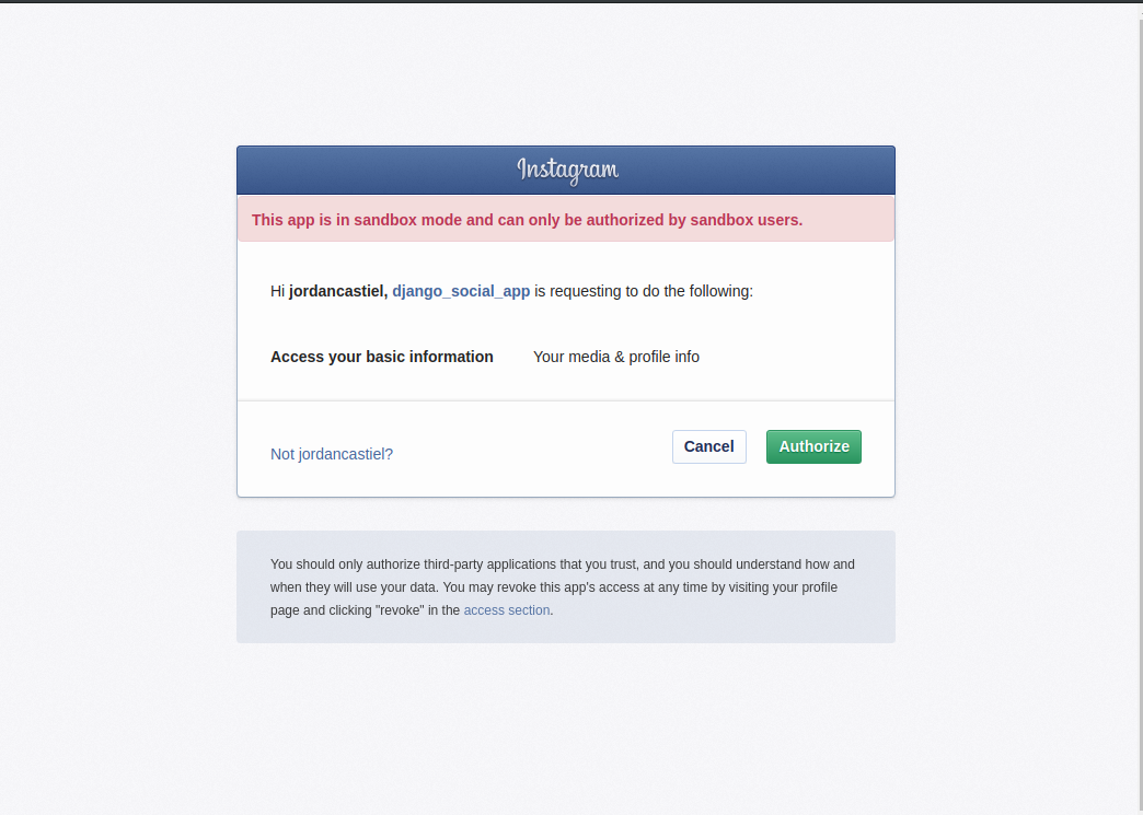 Screenshot of Instagram login with warning