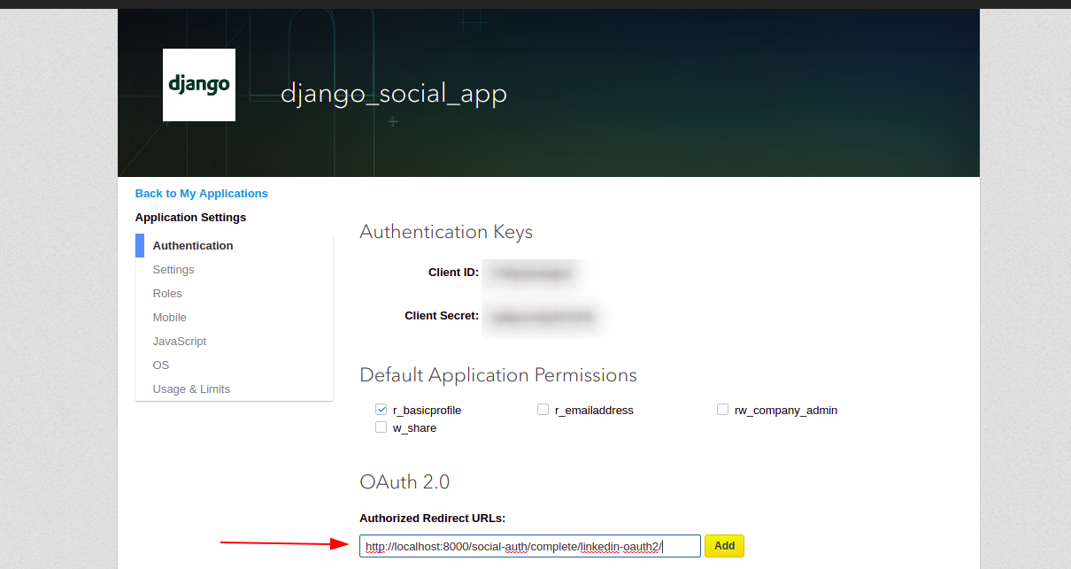 App authentication keys page