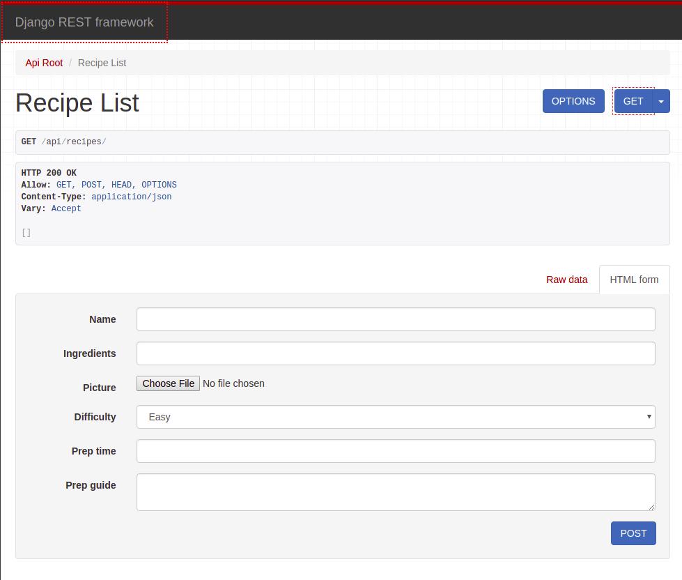 Django Rest Framework with Recipe List page