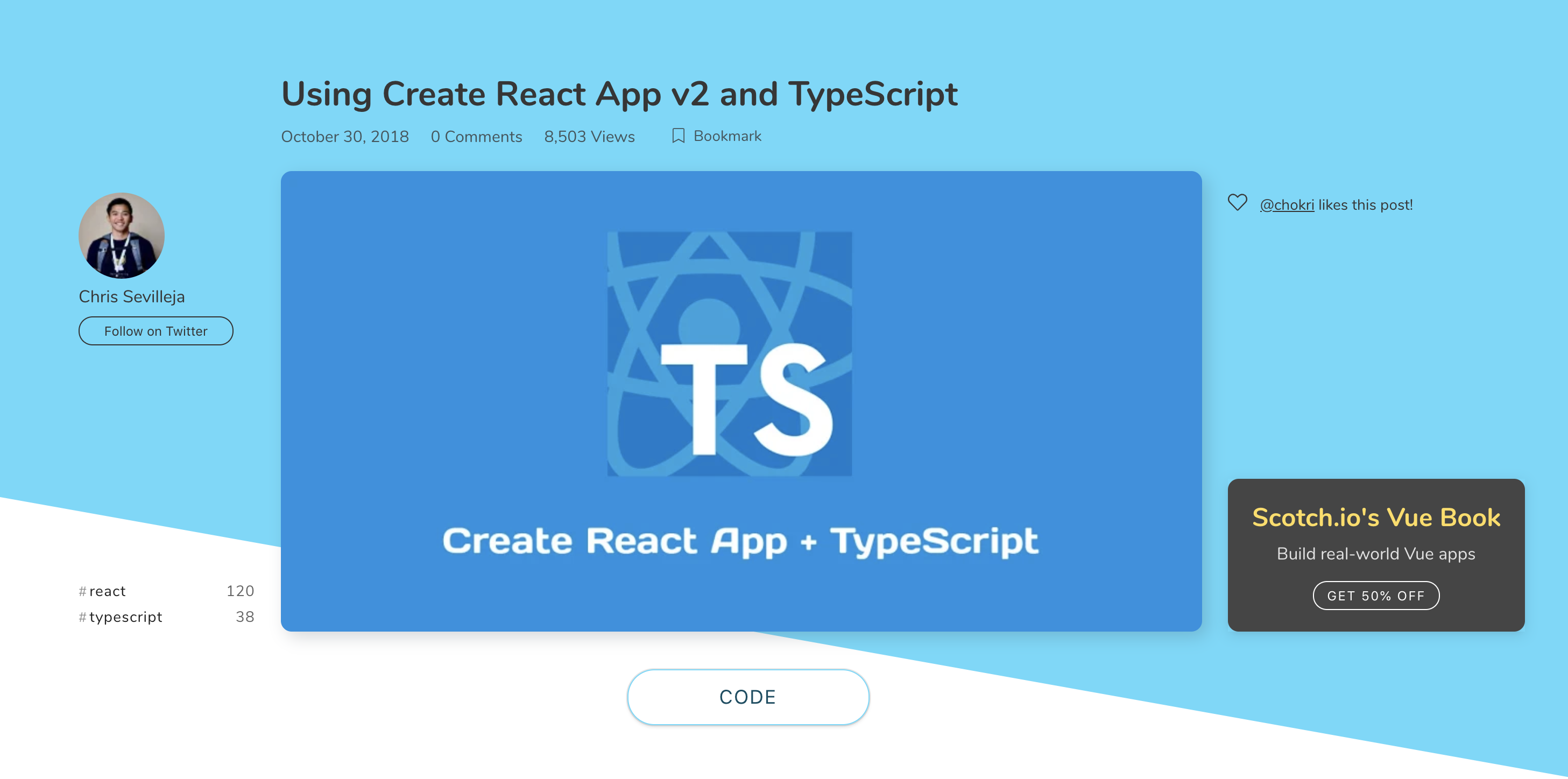 Create React Ap 2 on the Scotch website