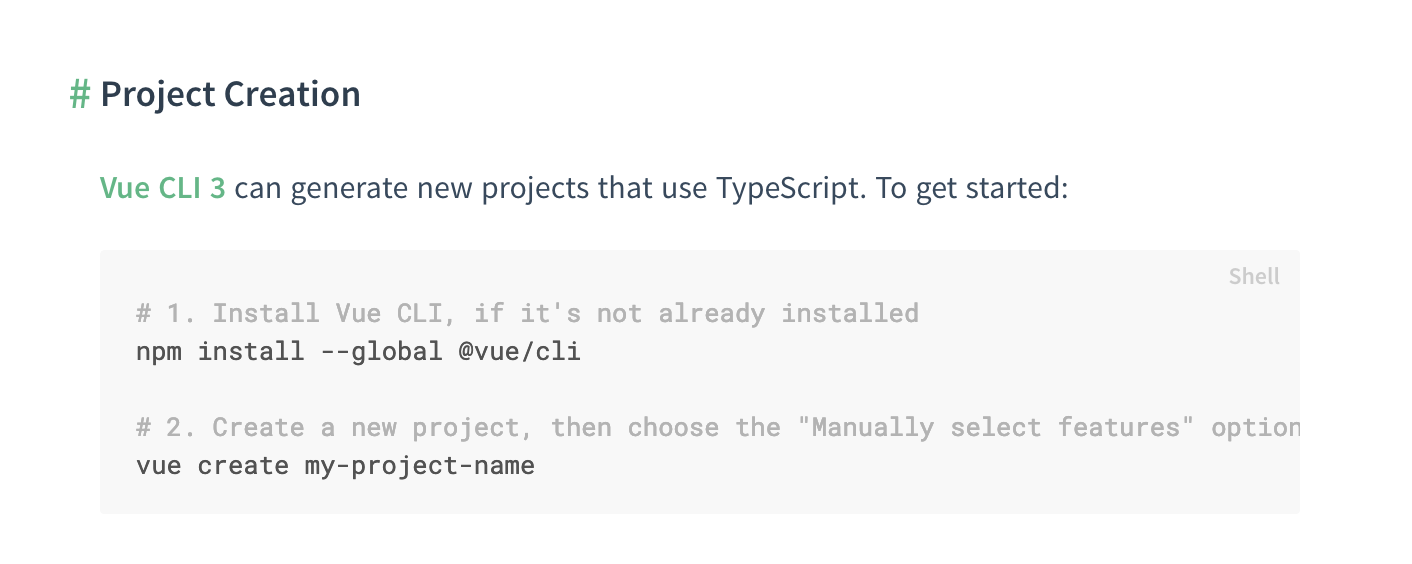 Project Creation page with Vue CLI 3