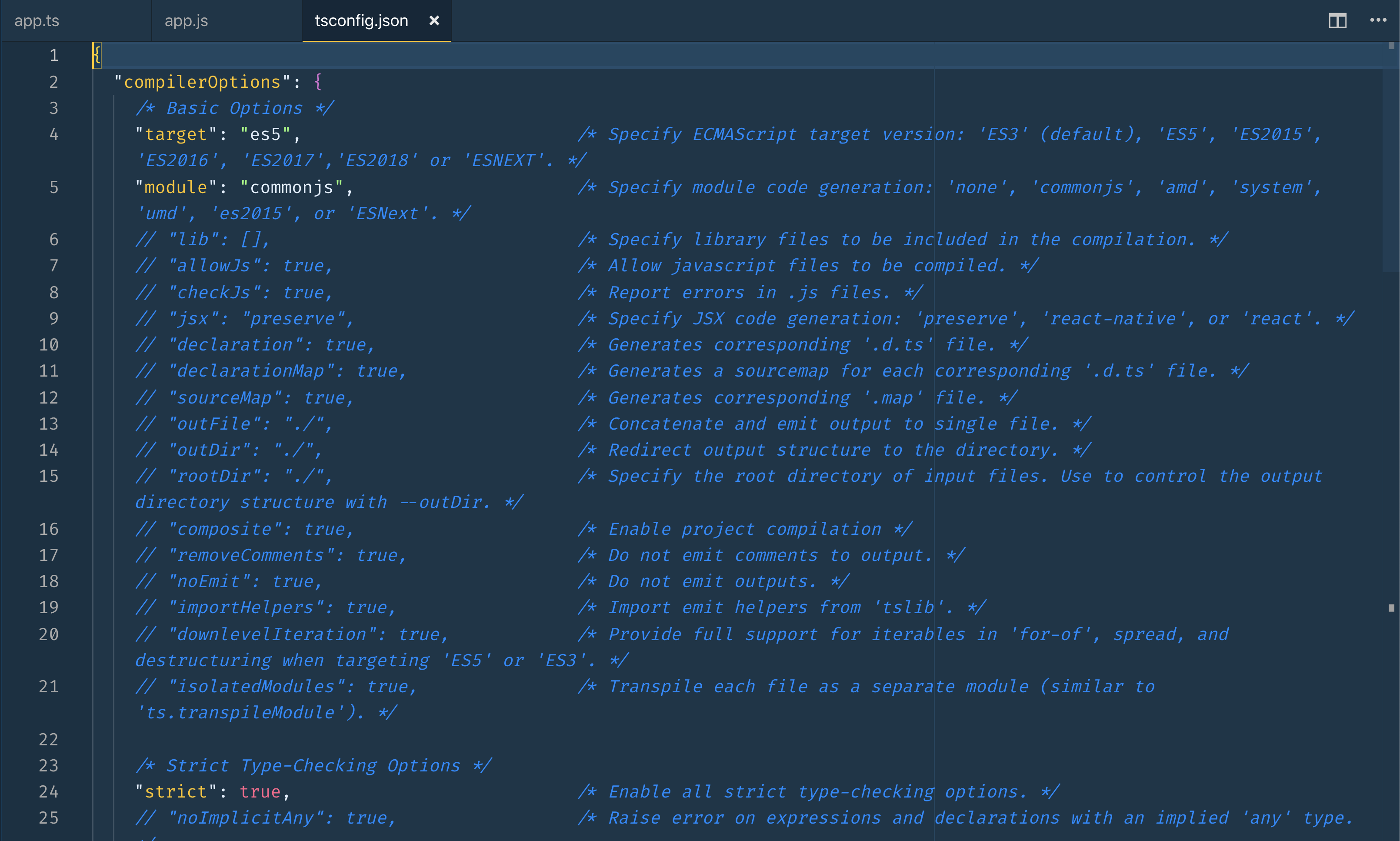 options listed and commented out in the new config file