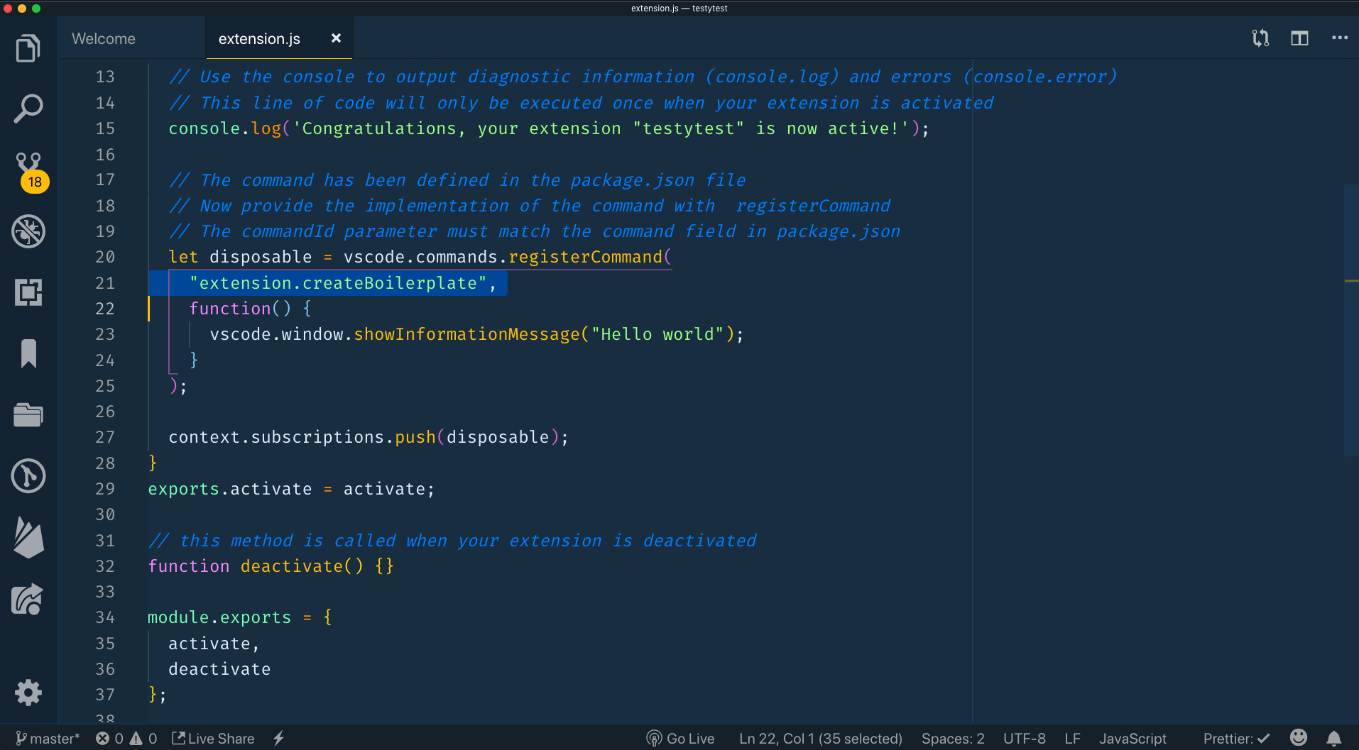 in extension.js changing the command from extension.helloworld to extension.createBoilerplate