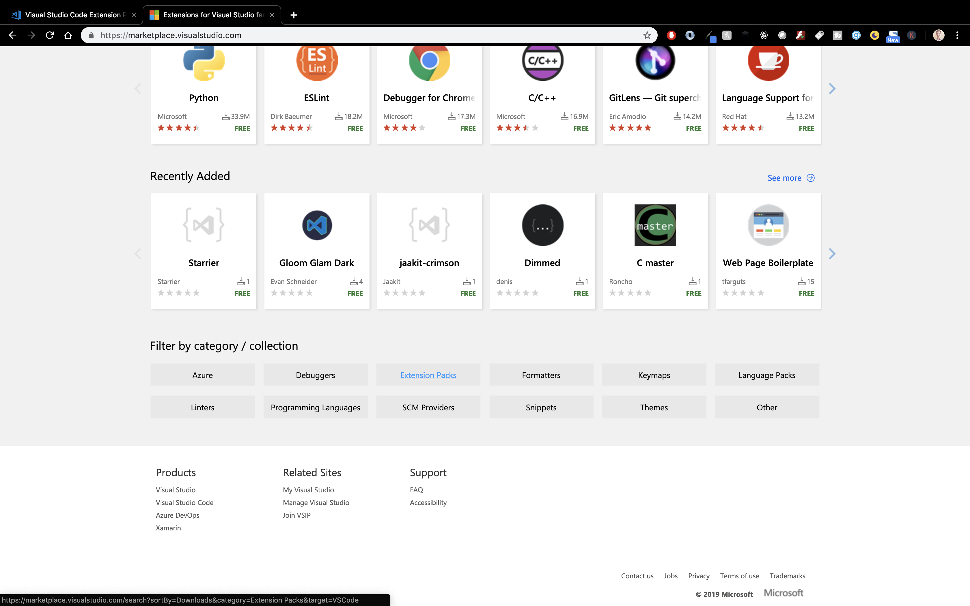 extension pack marketplace with the filter section at the bottom