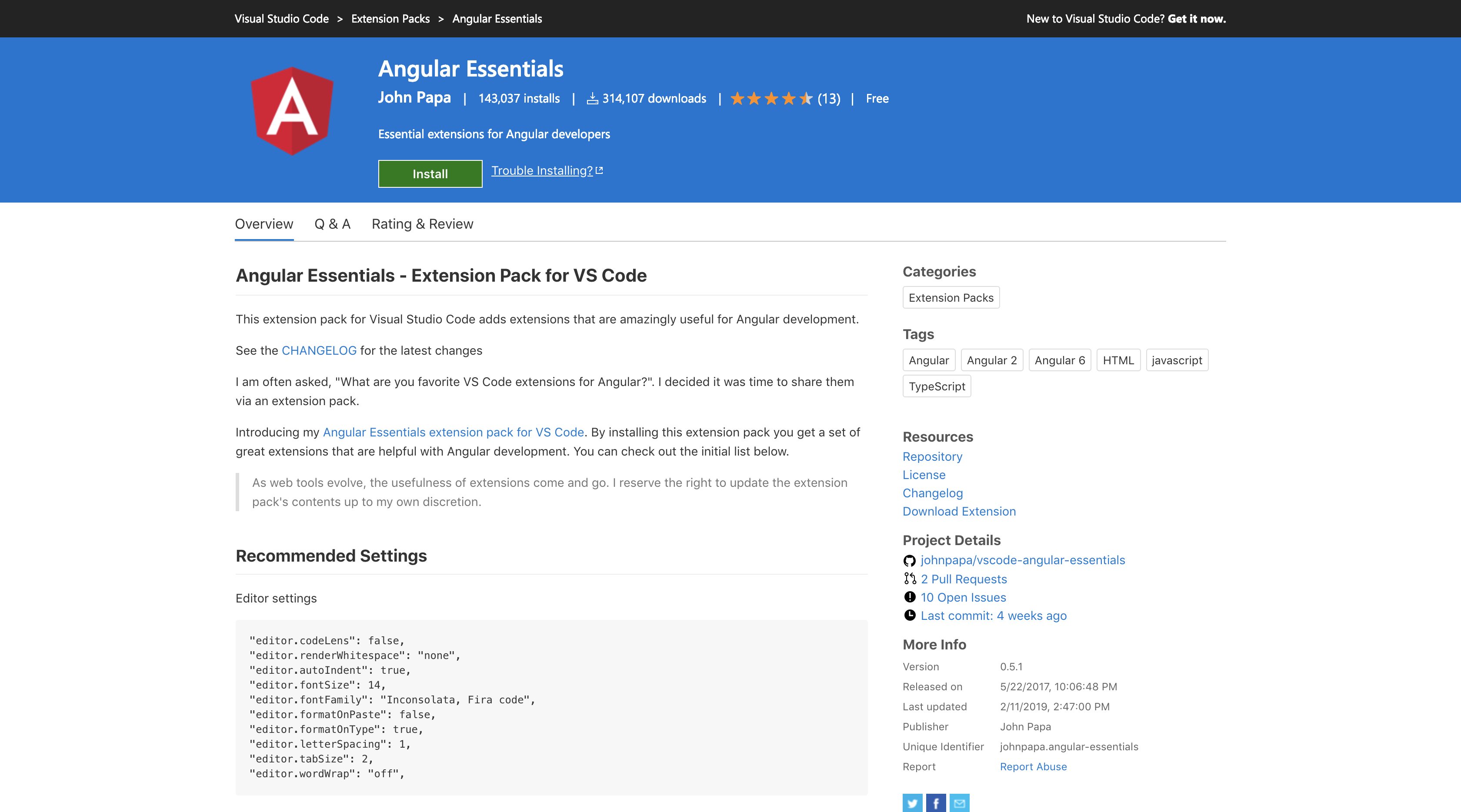 the Angular essentials pack home page