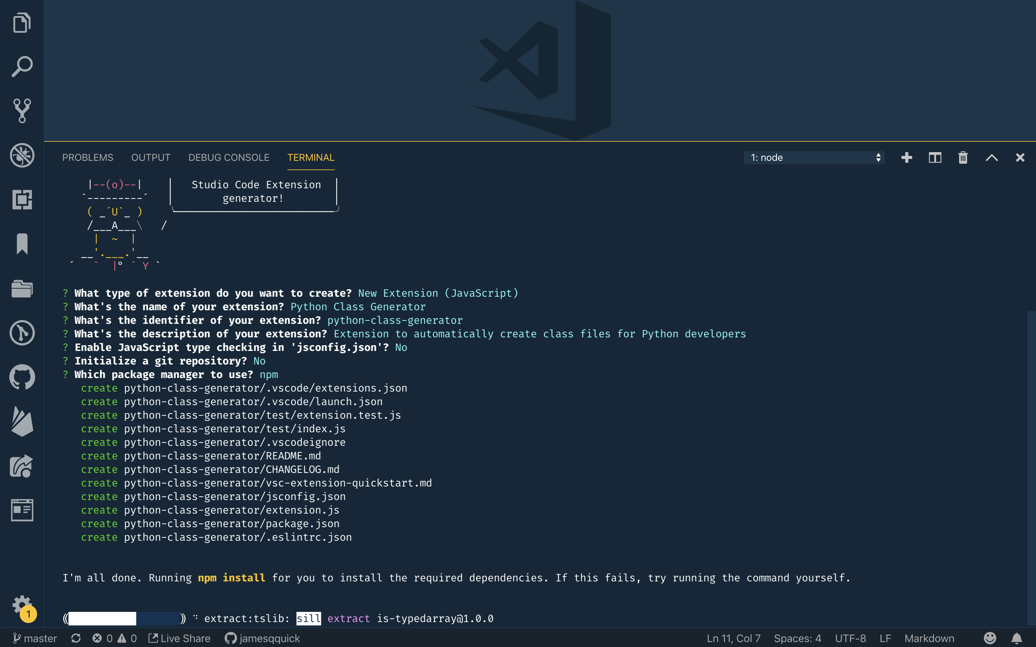 Select JavaScript or TypeScript