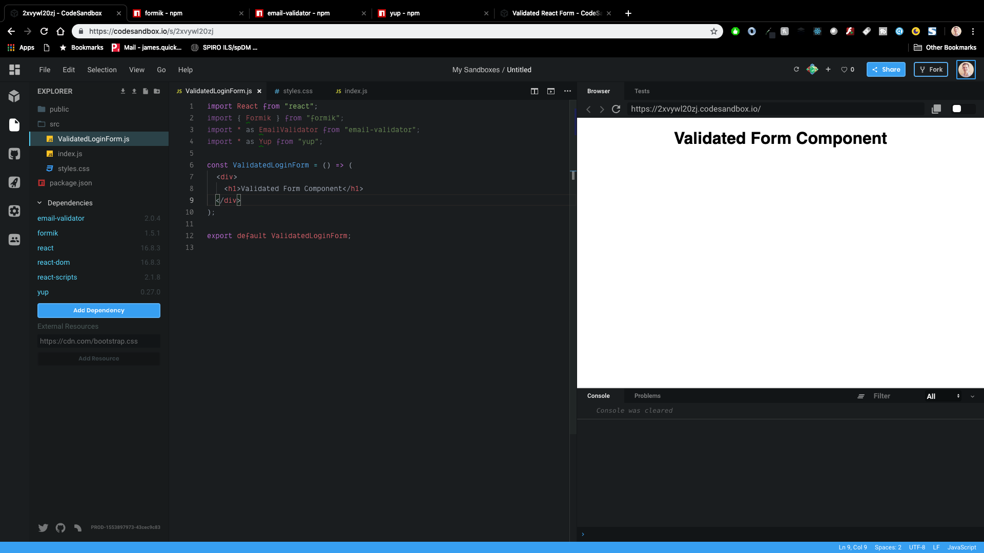 Validated Form Component in CodeSandbox