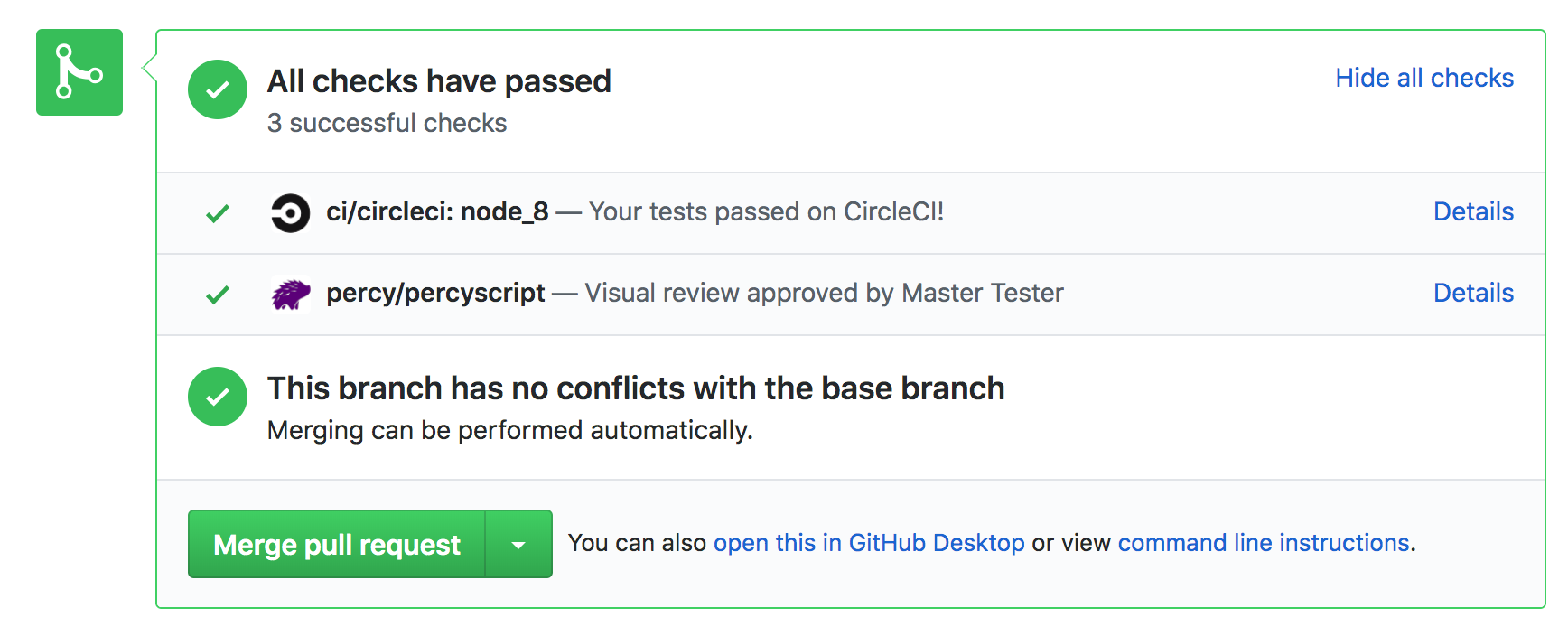 screenshot of Github UI showing pull request testing status with all tests passing