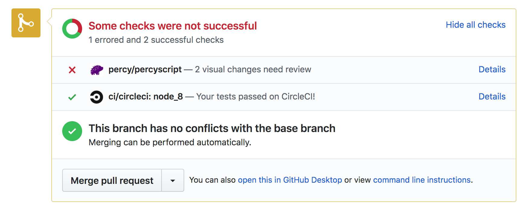 screenshot of Github UI showing pull request testing status with some tests failing