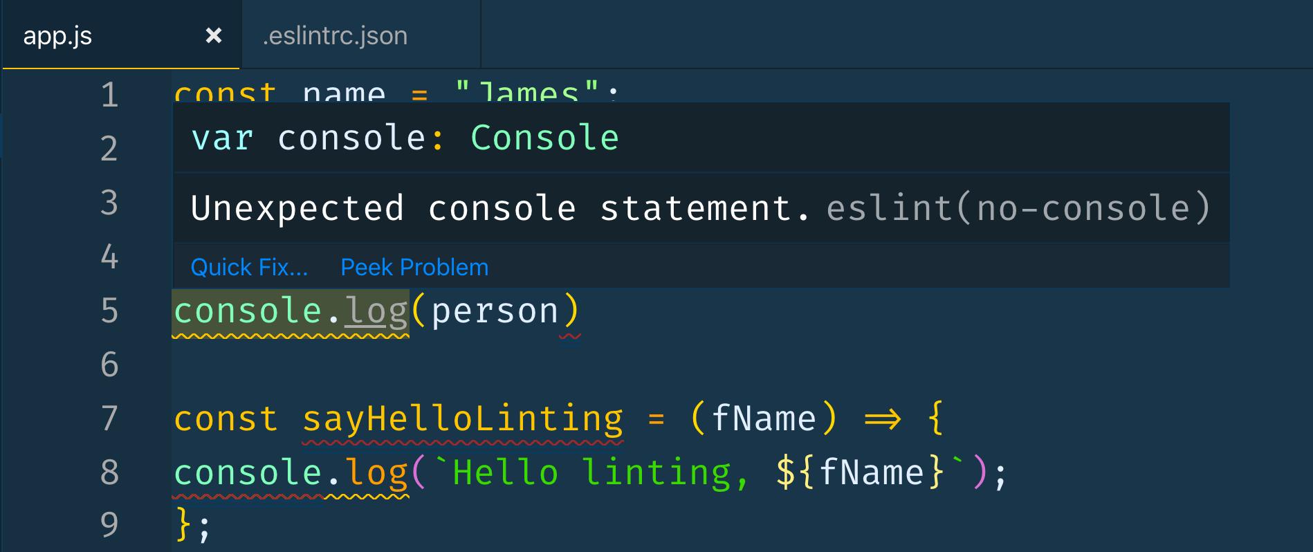 Console.log error