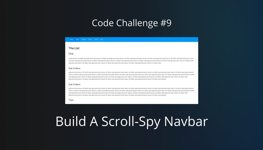 Code Challenge #9: Build A Scroll-Spy Navbar