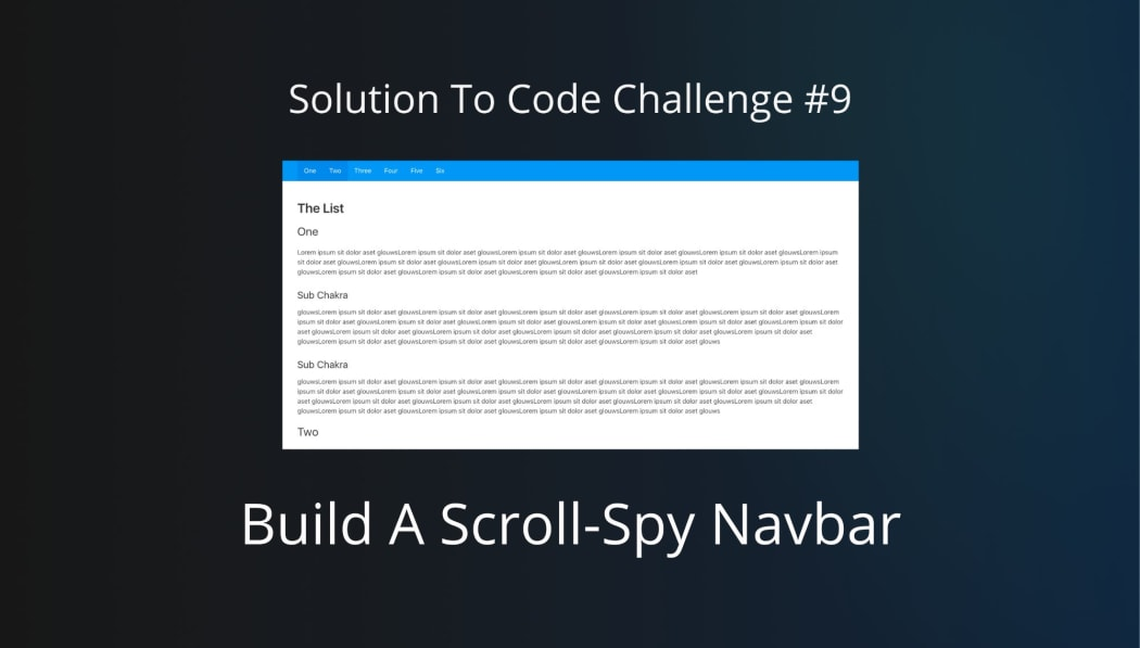 Build A Scroll-Spy Navbar (Solution to Code Challenge #9)