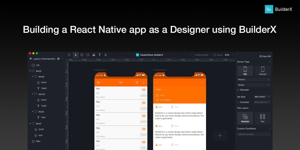 Building a React Native app as a Designer using BuilderX