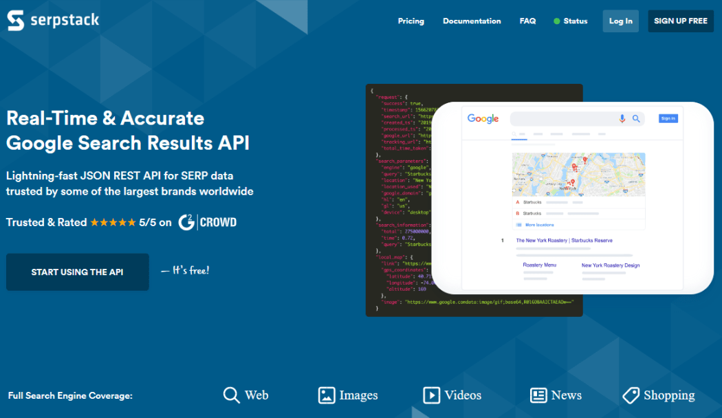 Real-Time Google Search Results API with serpstack