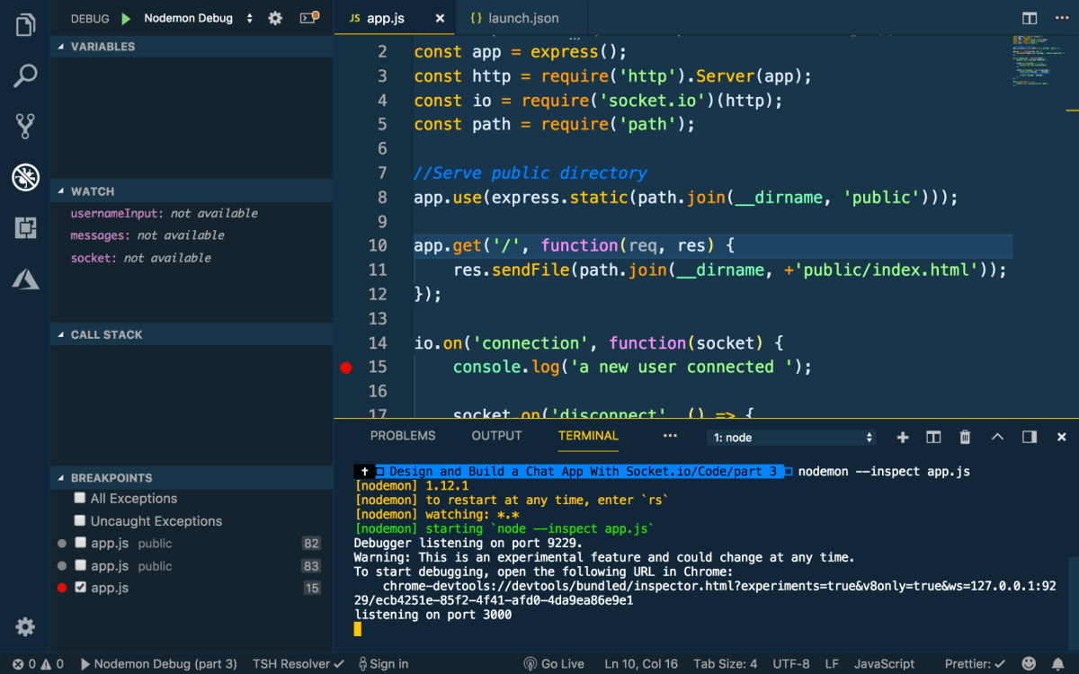 Debugging Node Code in VS Code ― Scotch io