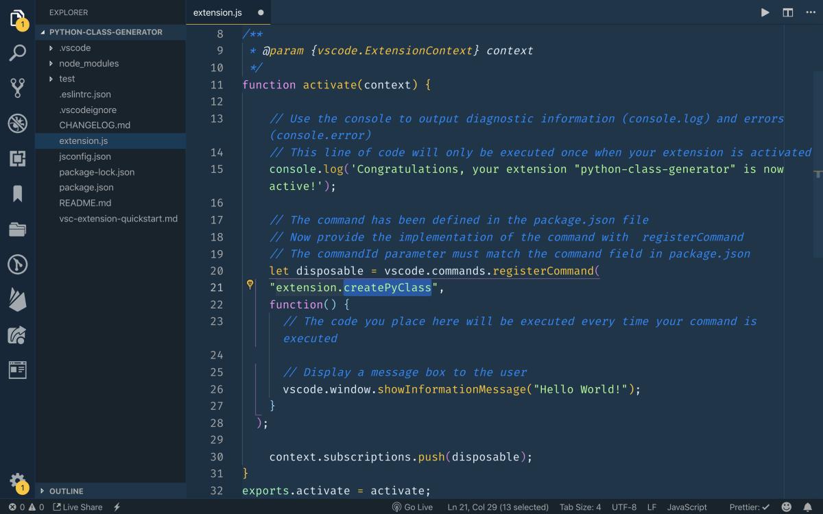 Creating a Python Class Generator for VS Code ― Scotch io