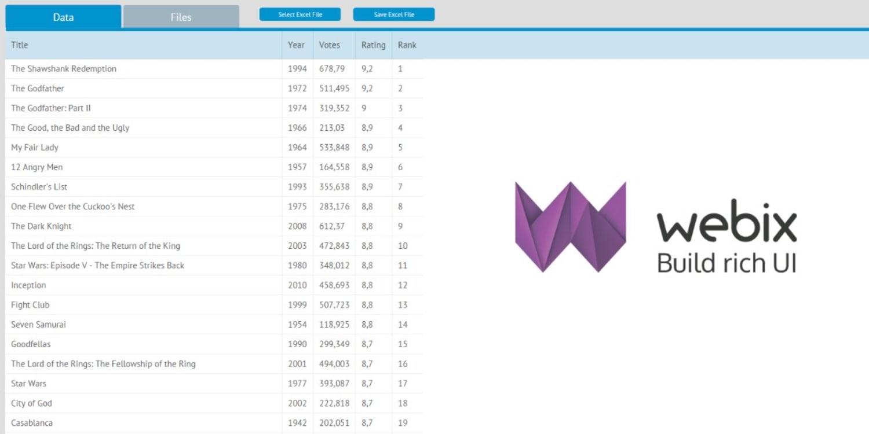 Webix examples