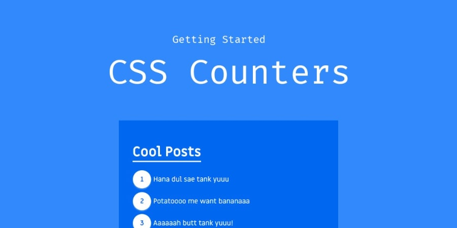 Getting Started with CSS Counters