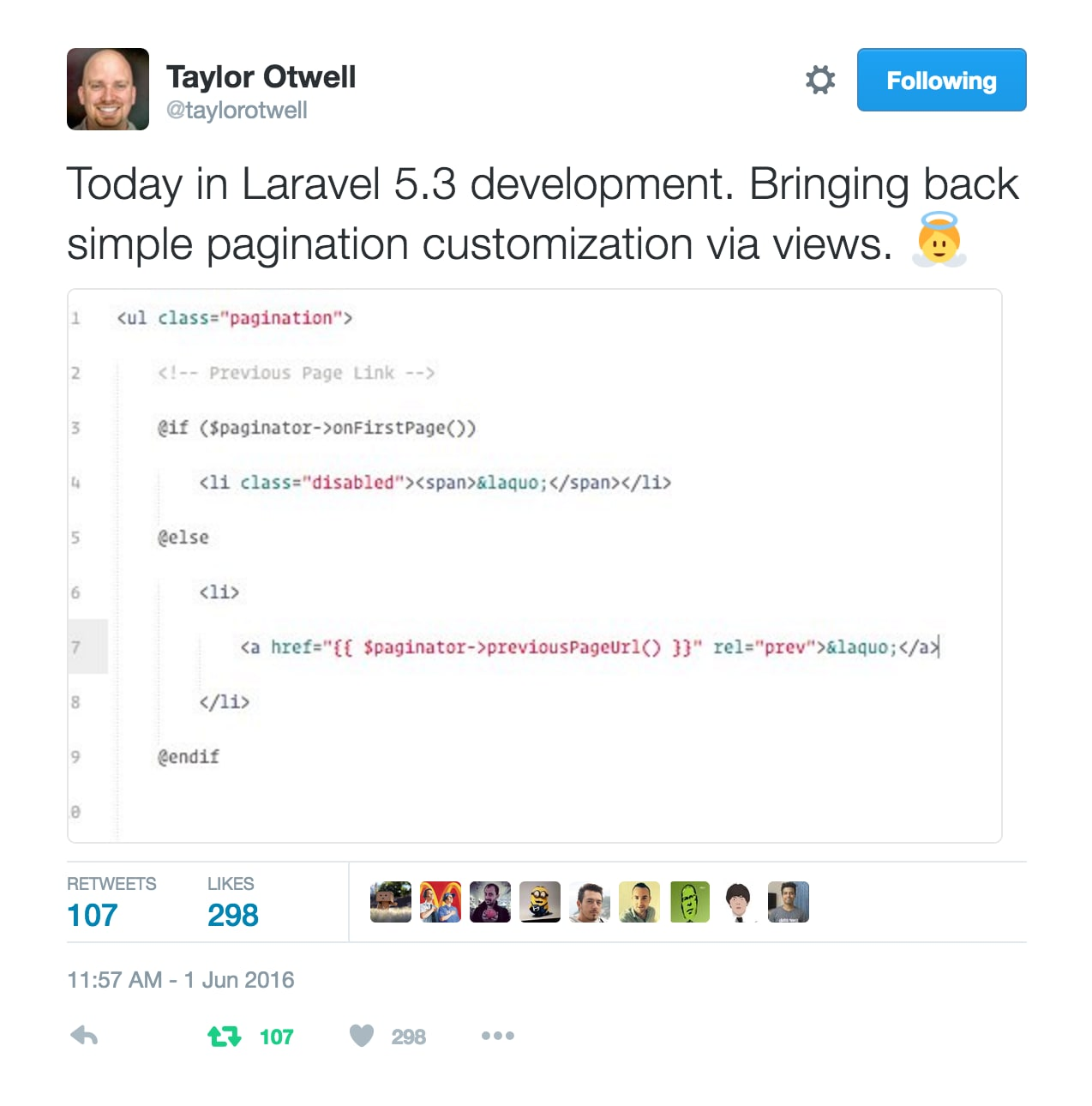 Today in Laravel 5.3 development. Bringing back simple pagination customization via views.