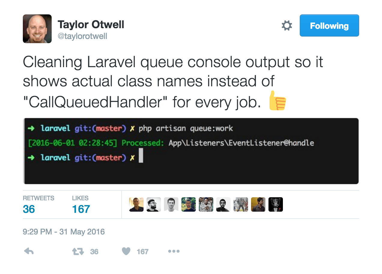 Cleaning Laravel queue console output so it shows actual class names instead of CallQueuedHandler