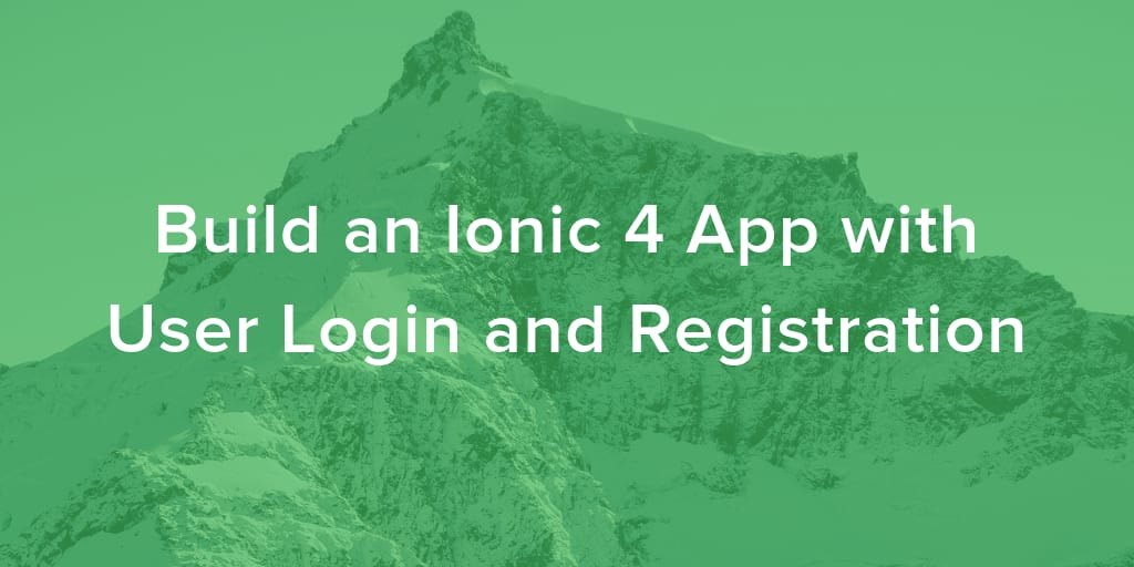 QnA VBage Build an Ionic 4 App with User Login and Registration